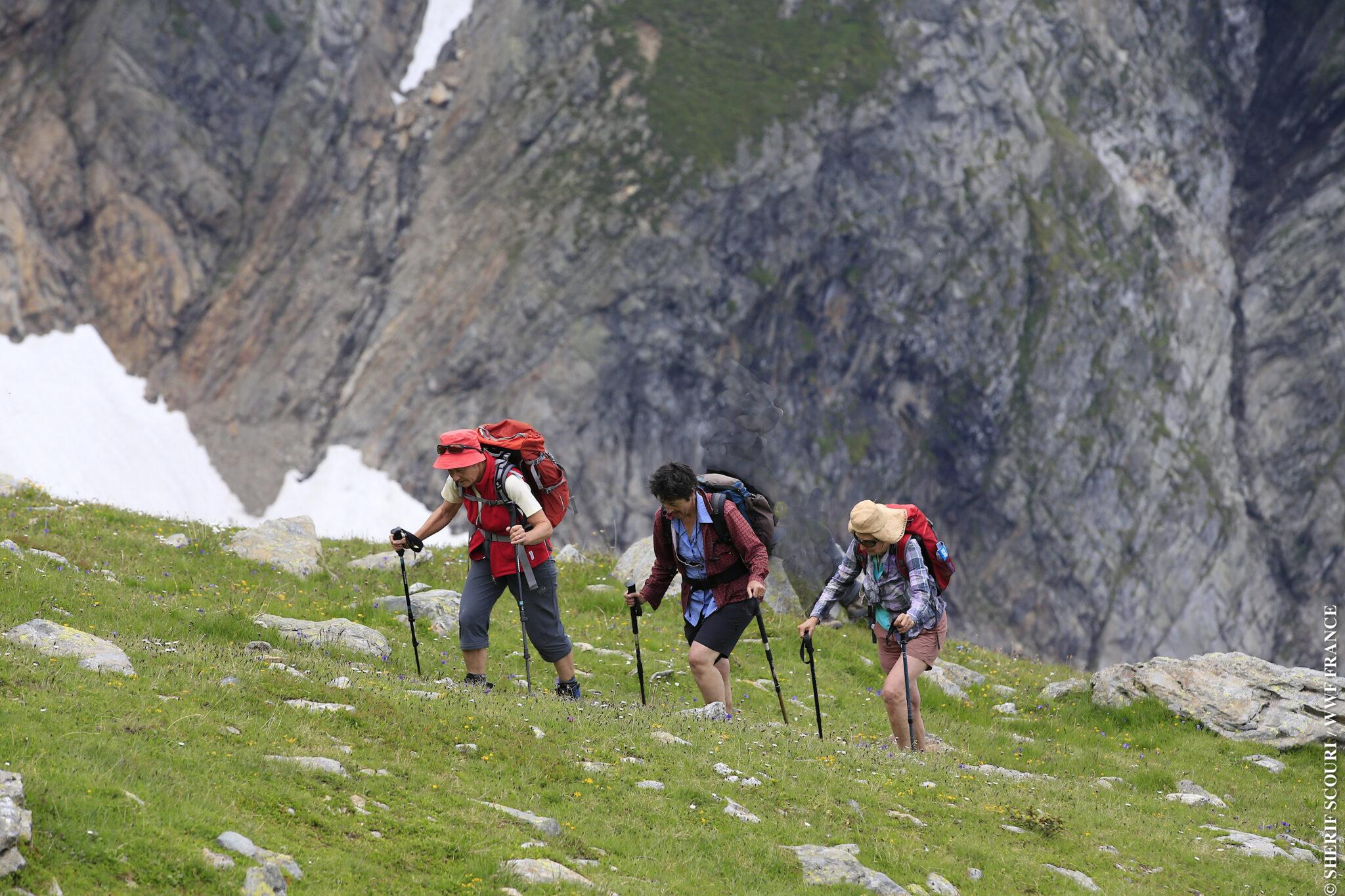 Un trio de pandathlètes sur le parcours de 18 kms en direction du Nid d'Aigle© Sherif Scouri/WWF France