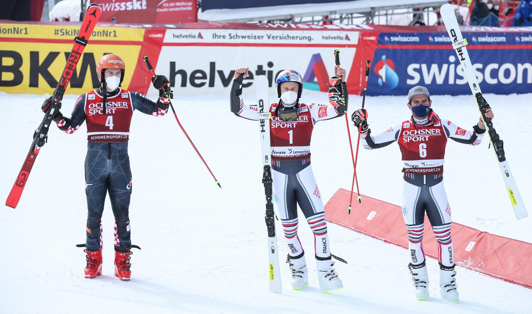 podium ski alpin alexis pinturault  filip zubcic mathieu faivre